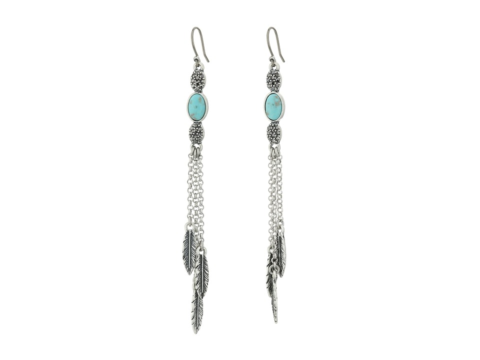 Lucky Brand - Linear Feather Earrings (Medium Grey) Earring