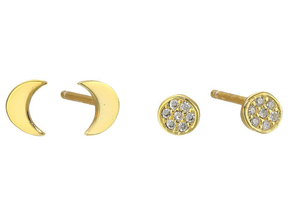 Lucky Brand - Delicate Gold Moon Earrings (Medium Dark Gold) Earring