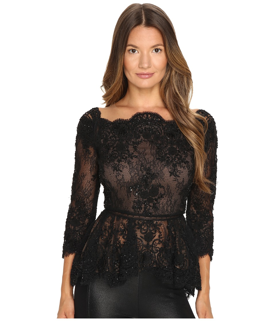 Marchesa Off the Shoulder Beaded Lace Peplum Top with 3-4 Sleeves and Lace Ladder Detail Black Dress