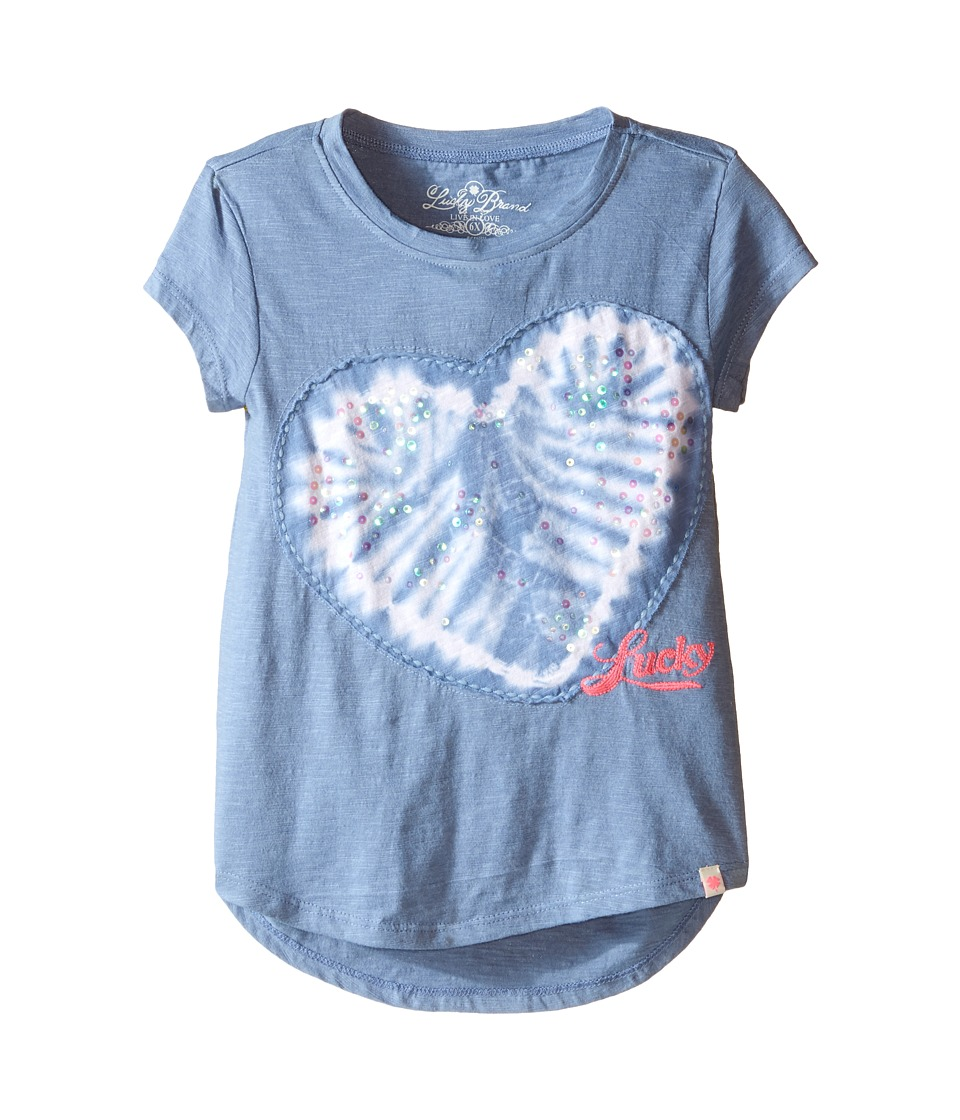 Lucky Brand Kids - Embroderied Applique Heart Tee (Little Kids) (Shibori Blue) Girl's T Shirt