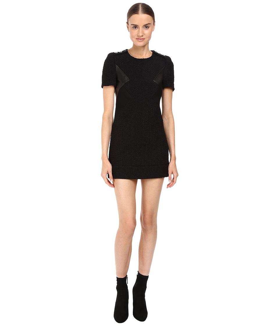 Neil Barrett Modernist Fitted Macro Tweed Dress (Double Black) Women