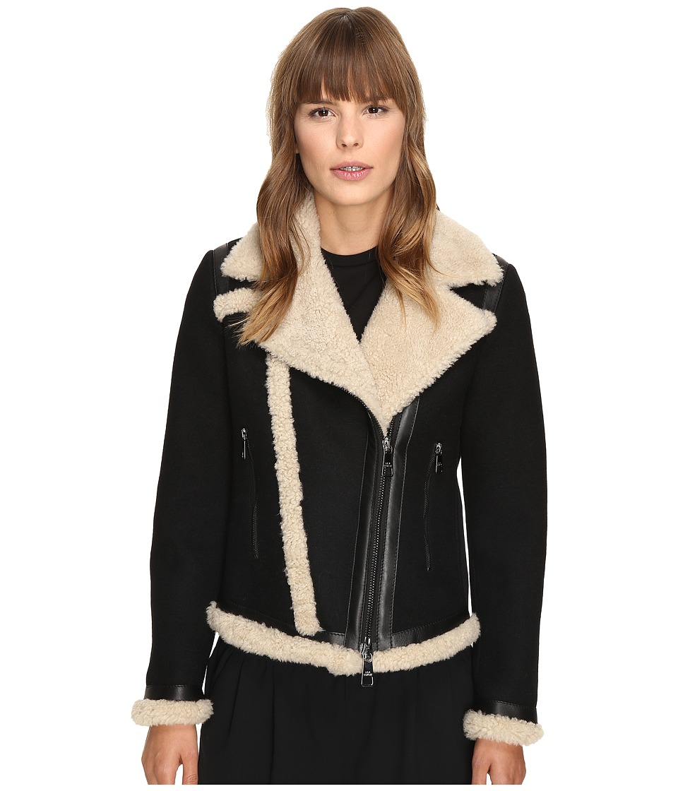Neil Barrett - Mixed Fabrics Doubleface Wool + Shearling Petit Biker Jacket (Black/Natural) Women's Coat
