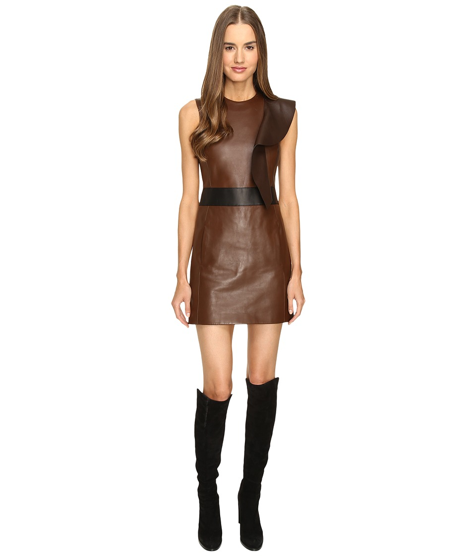 Neil Barrett - Leather Slim Fit Dress (Brown) Women's Dress