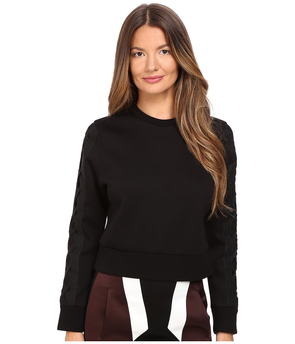 Neil Barrett - Skinny Short Laced Sweatshirt (Black) Women's Sweatshirt