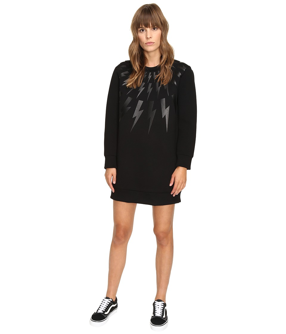 Neil Barrett - Lightning Long Fairsle Sweatshirt (Black) Women's Sweatshirt
