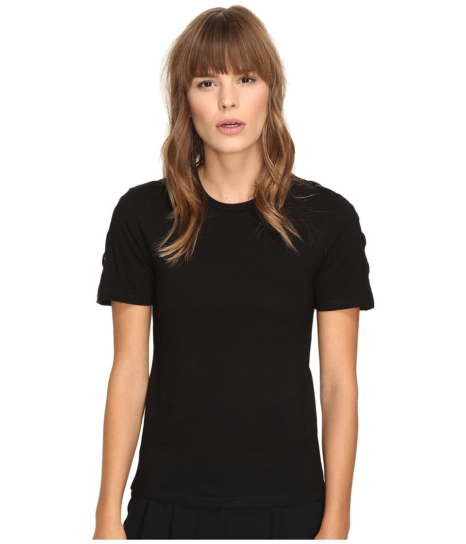 Neil Barrett - Laced Regular Interlock Jersey T-Shirt (Black) Women's T Shirt