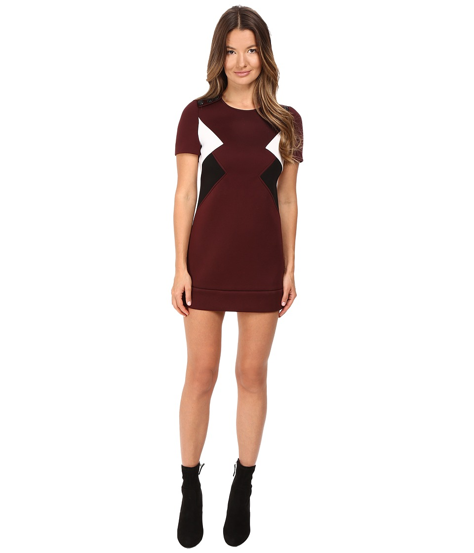 Neil Barrett - Modernist Fitted Sweatshirt Dress (Burgundy) Women's Dress