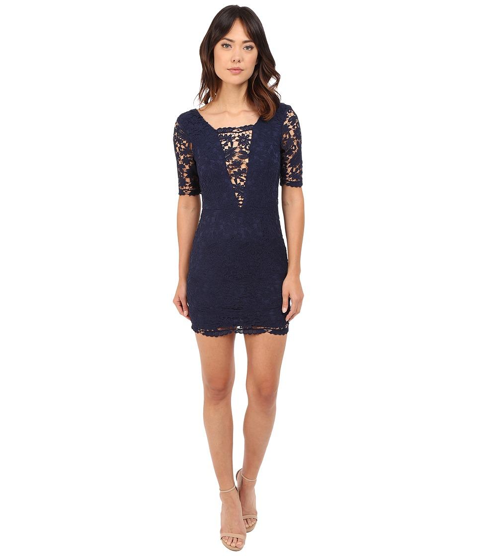 Brigitte Bailey - Jennifer Crochet Lace Detail Mini Dress (Navy) Women's Dress