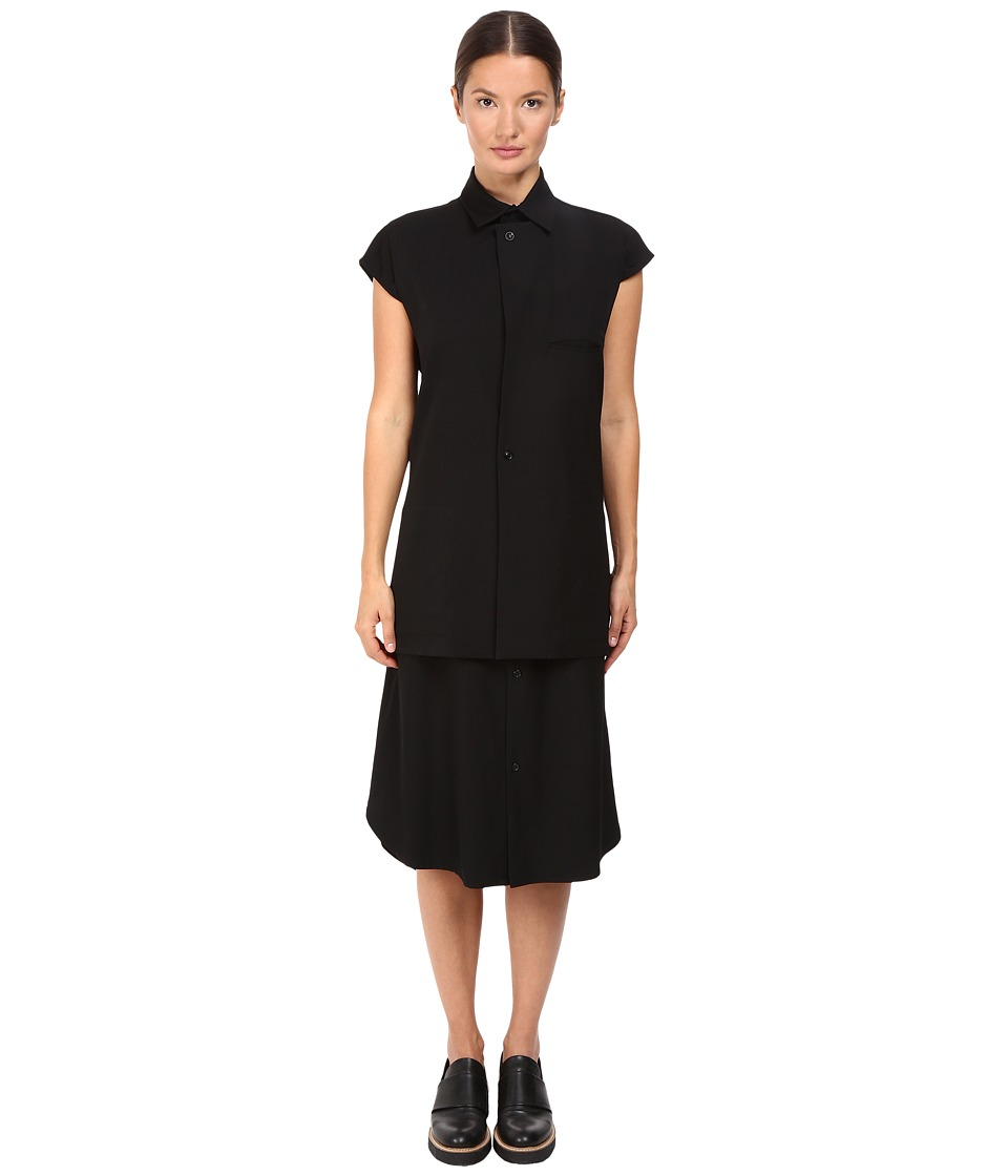 Y's by Yohji Yamamoto - Layering Taste Shirtdress (Black) Women's Dress