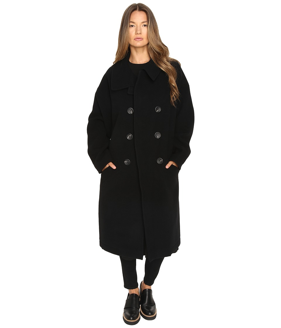Y's by Yohji Yamamoto - U-Big Double Breasted Coat (Black) Women's Coat