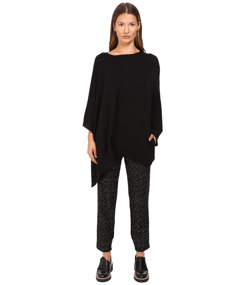 Y's by Yohji Yamamoto - Hem Twist Neck Pullover (Black) Women's Long Sleeve Pullover