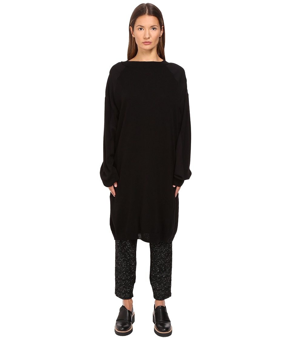 Y's by Yohji Yamamoto - 3/4 Sleeve Poplin Pullover (Black) Women's Long Sleeve Pullover