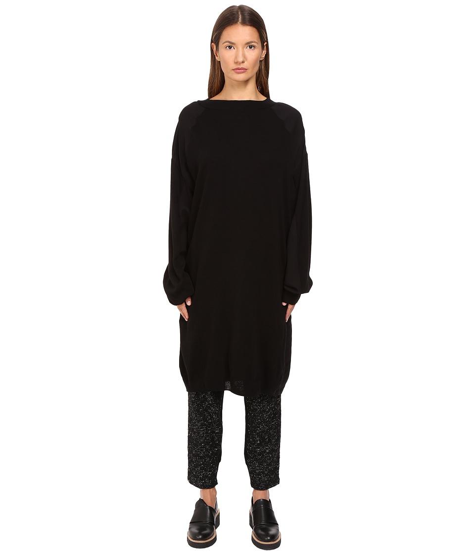 Y's by Yohji Yamamoto - 3/4 Sleeve Poplin Pullover (Black) Women's Long Sleeve Pullover