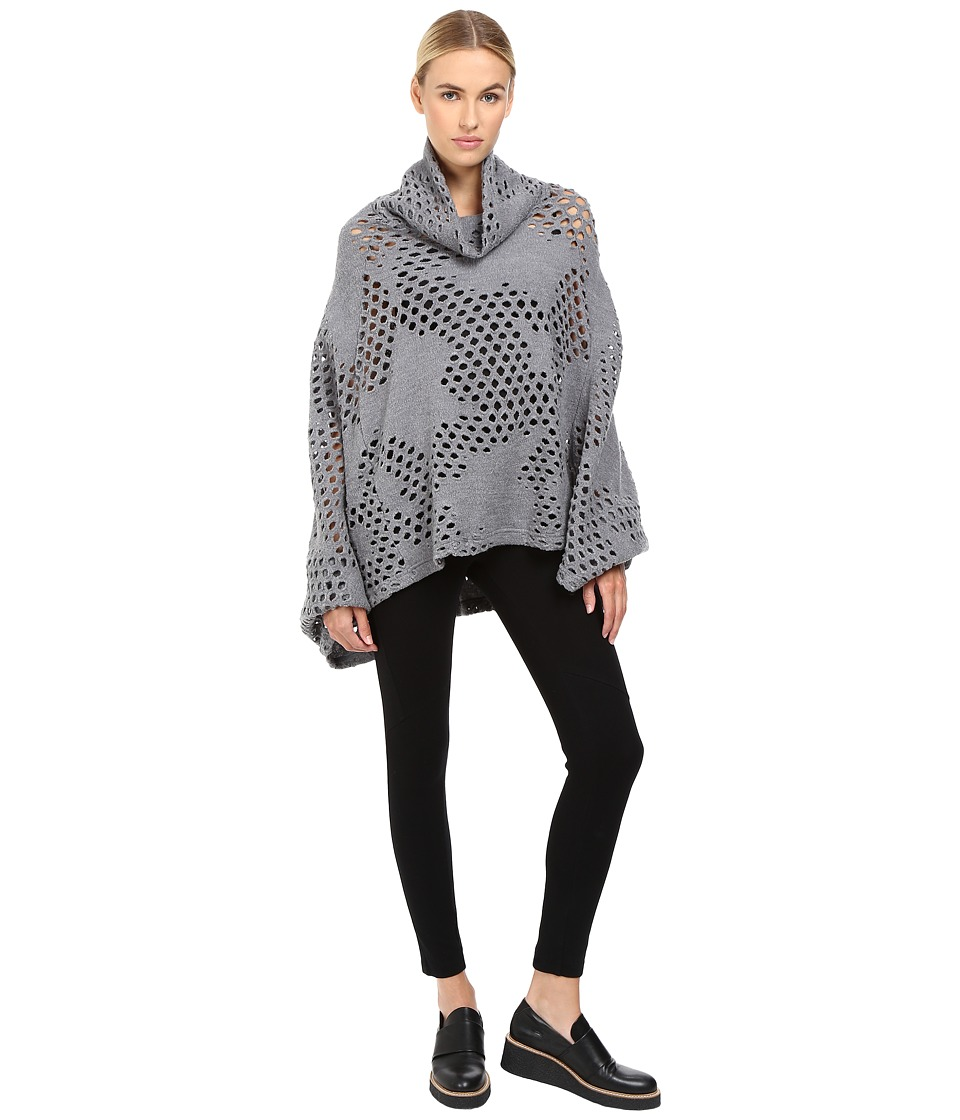 Y's by Yohji Yamamoto - Holey Dolman Sleeve Turtleneck Poncho Sweater (Grey) Women's Sweater