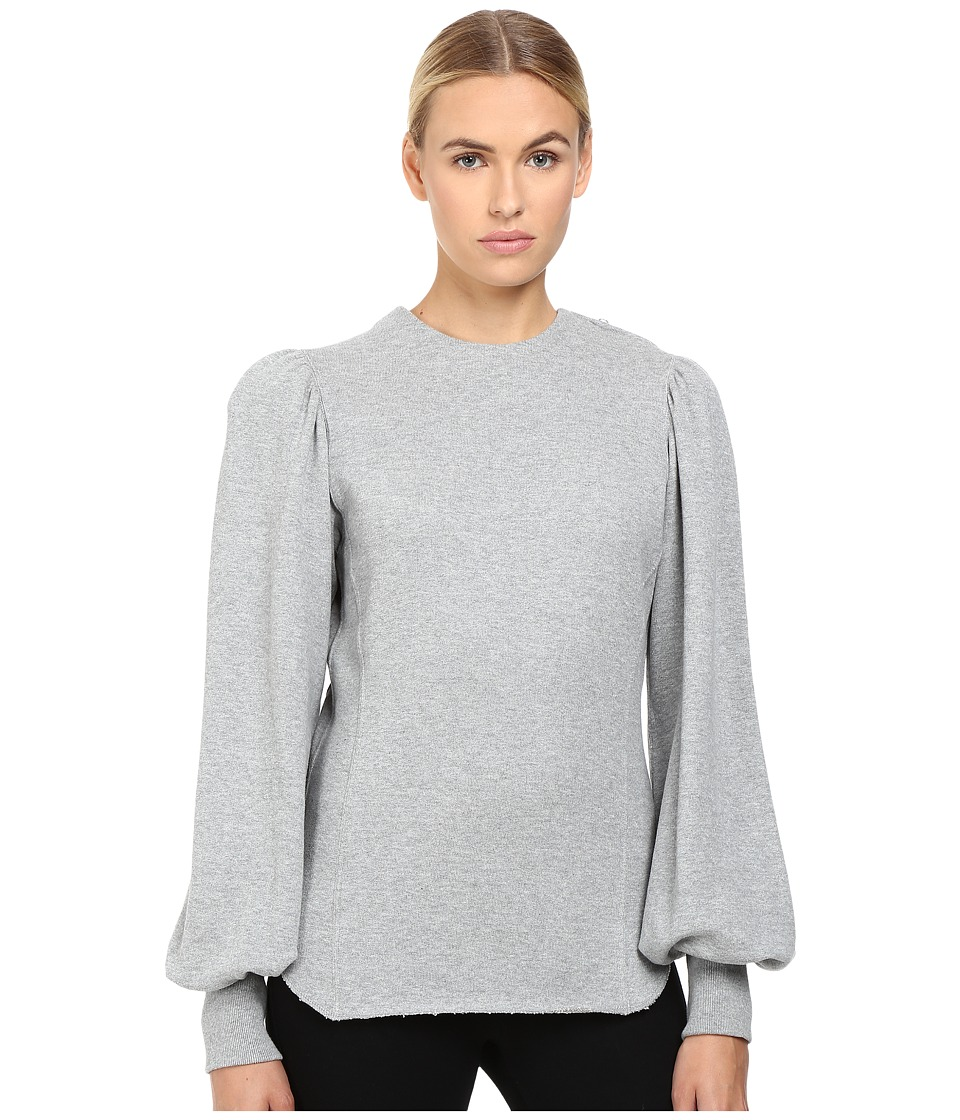 Y's by Yohji Yamamoto - Smocked Sleeve Balloon Sleeve Top (Grey) Women's Long Sleeve Pullover