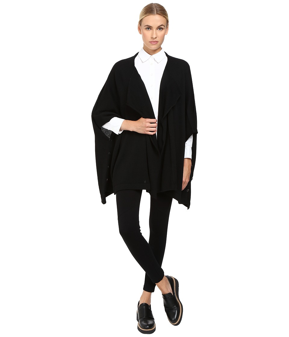 Y's by Yohji Yamamoto - Side Button 1 Pin Cloak (Black) Women's Coat