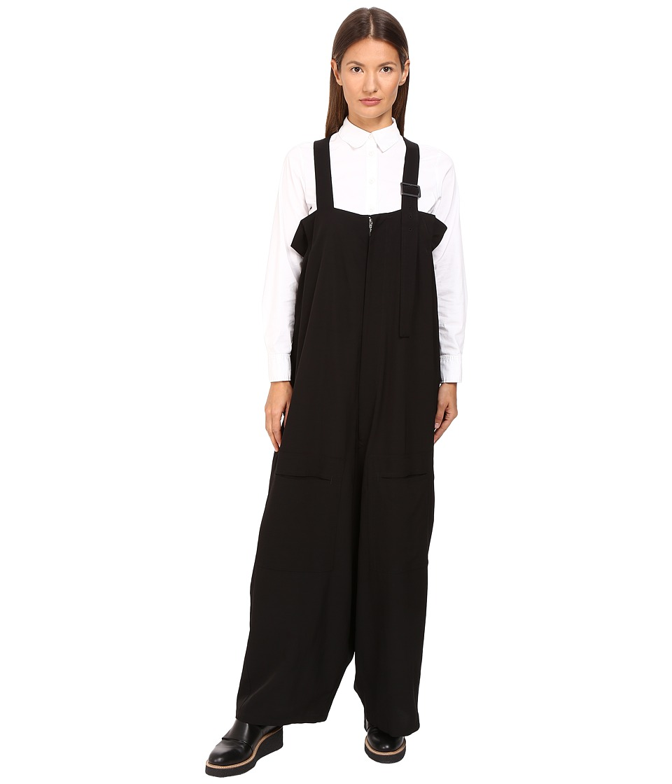 Y's by Yohji Yamamoto - Cotton Twisted Twill Overalls (Black) Women's Overalls One Piece