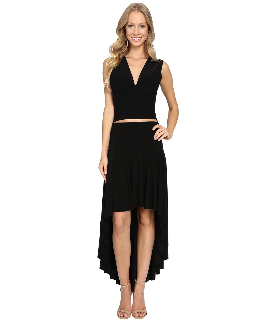 KAMALIKULTURE by Norma Kamali - Sleeveless Wrap Dress Flared (Black) Women's Dress