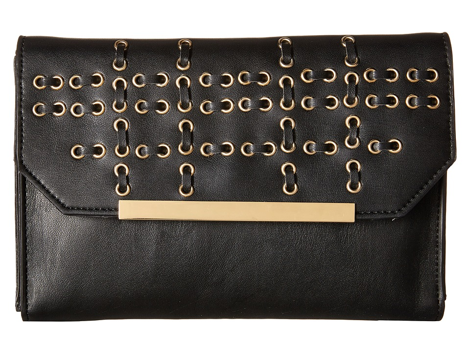French Connection - Karen w/ Whipstitch and Eyelets Clutch (Black) Clutch Handbags