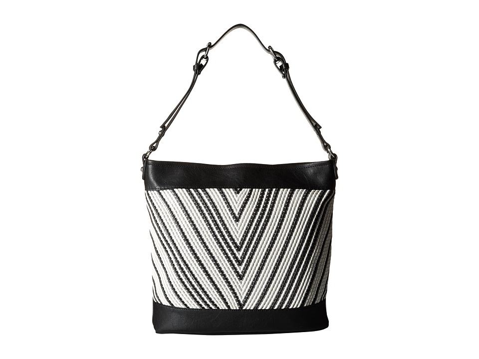 French Connection - Charlie Woven Hobo (Black/White) Hobo Handbags