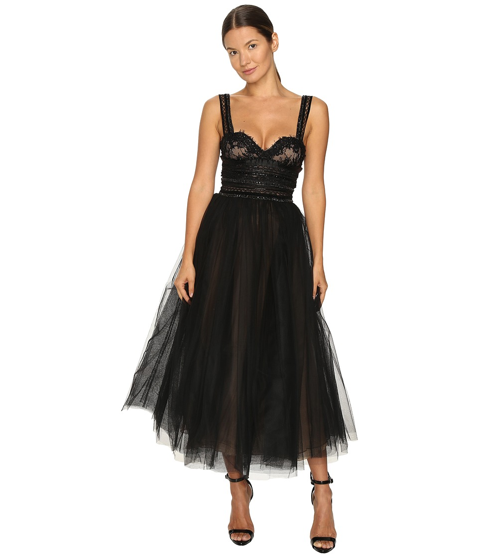 Marchesa - Tea-Length Flared Cocktail with Beaded Lace Bustier Wide Shoulder Straps and Textured Ruffle Embroidery (Black) Women's Dress