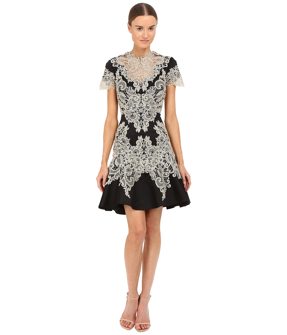 Marchesa Stretch Crepe Fitted Cocktail with Flared Skirt Gold Beaded Appliques and Cut Out Details (Black) Women