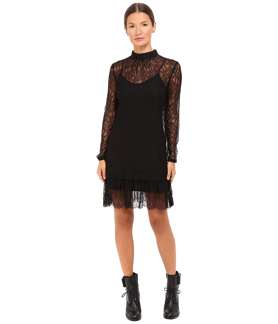 McQ - Gather Ruffle Blouse Dress Lace (Black) Women's Dress
