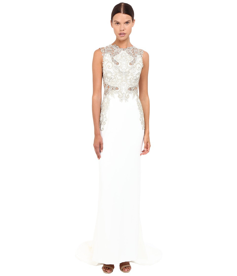 Marchesa Stretch Crepe Fitted A-Line Gown with Gold Beaded Appliques Cut Out Details and Train (Ivory) Women