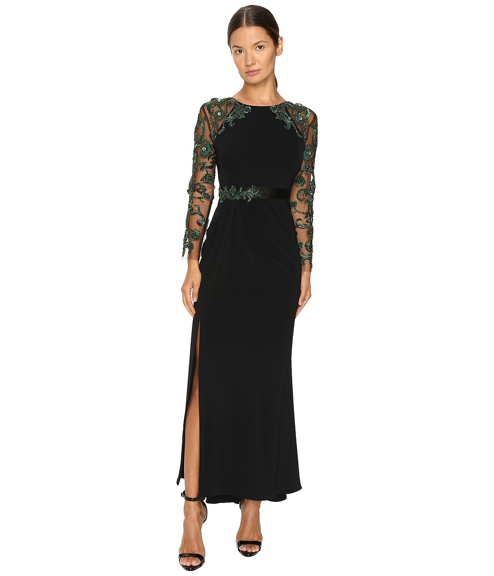 Marchesa - Fitted Stretch Crepe Gown with Crystal Embroidered Raglan Sleeves and Beaded Satin Belt (Black) Women's Dress