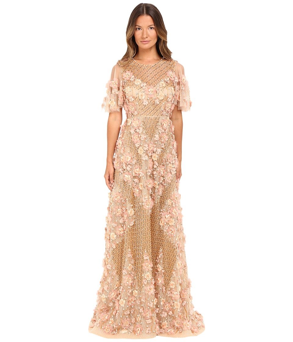 Marchesa - Fully Embroidered Facetted Bead A-Line Gown with Three Dimensional Textured Flowers and Flared Sleeves (Blush) Women's Dress