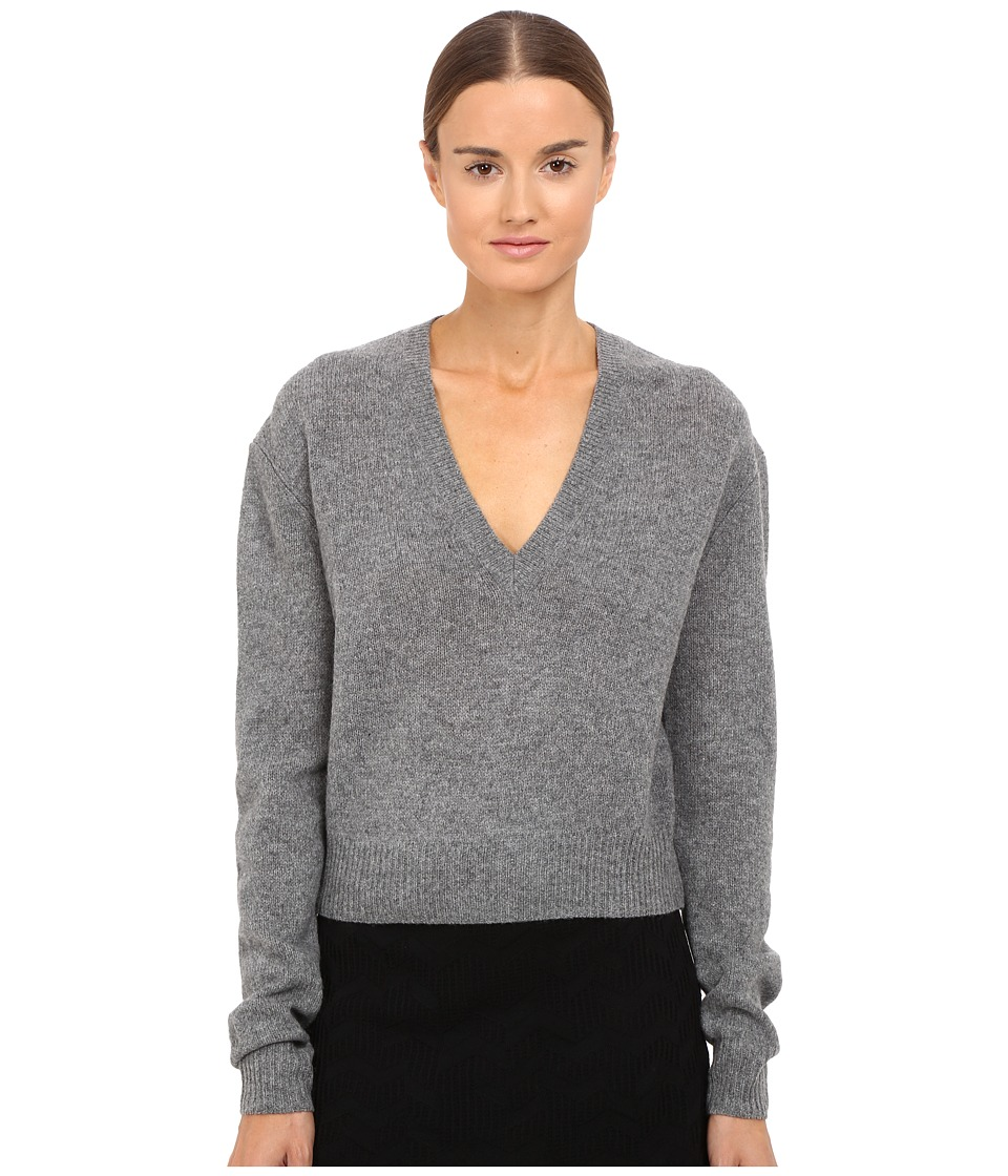 McQ - Lambswool Basic V-Neck (Grey Melange) Women's Clothing
