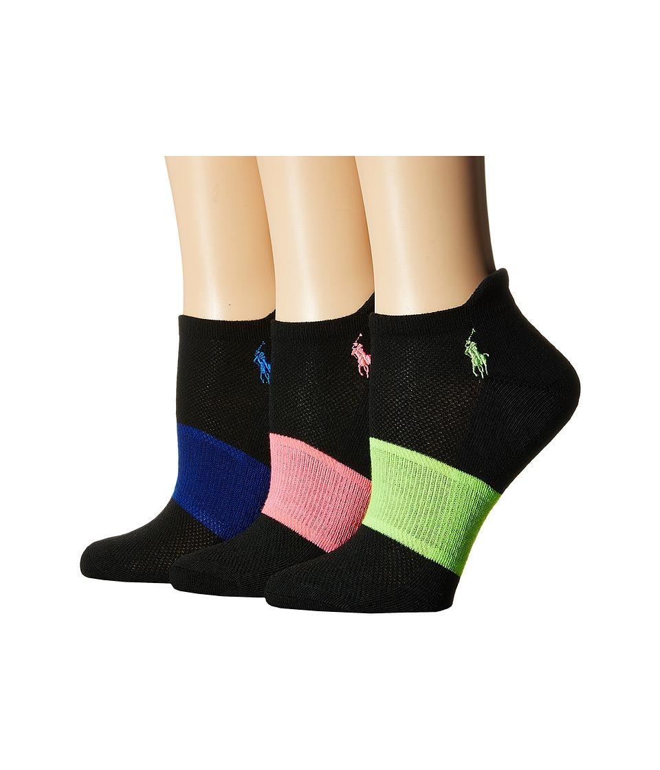 LAUREN Ralph Lauren - Arch Stripe Heel Tab Low Cut 3-Pack (Black Assorted) Women's Crew Cut Socks Shoes