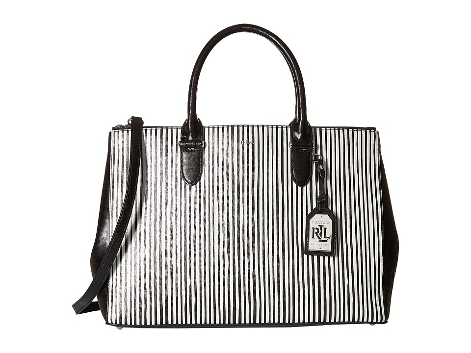 LAUREN Ralph Lauren - Striped Saffiano Double Zip Satchel (Black/White) Satchel Handbags