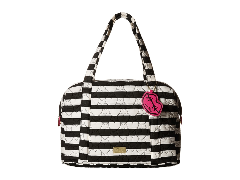 Luv Betsey - Player Quilted Cotton Weekender (Black/White Stripe) Weekender/Overnight Luggage