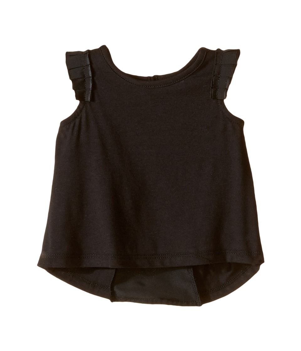 Kardashian Kids - Jersey Tee with Pleated Sleeve and Crepe Pleat Back (Infant) (Black) Girl's T Shirt