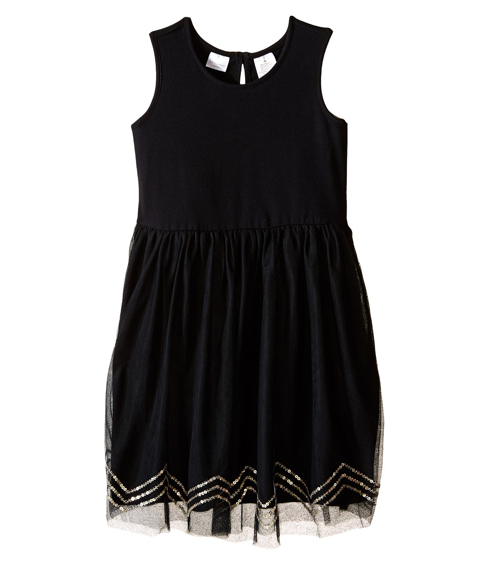 Kardashian Kids - Knit Dress w/ Tulle Skirt Chevron Sequin Trim (Toddler/Little Kids) (Black) Girl's Dress