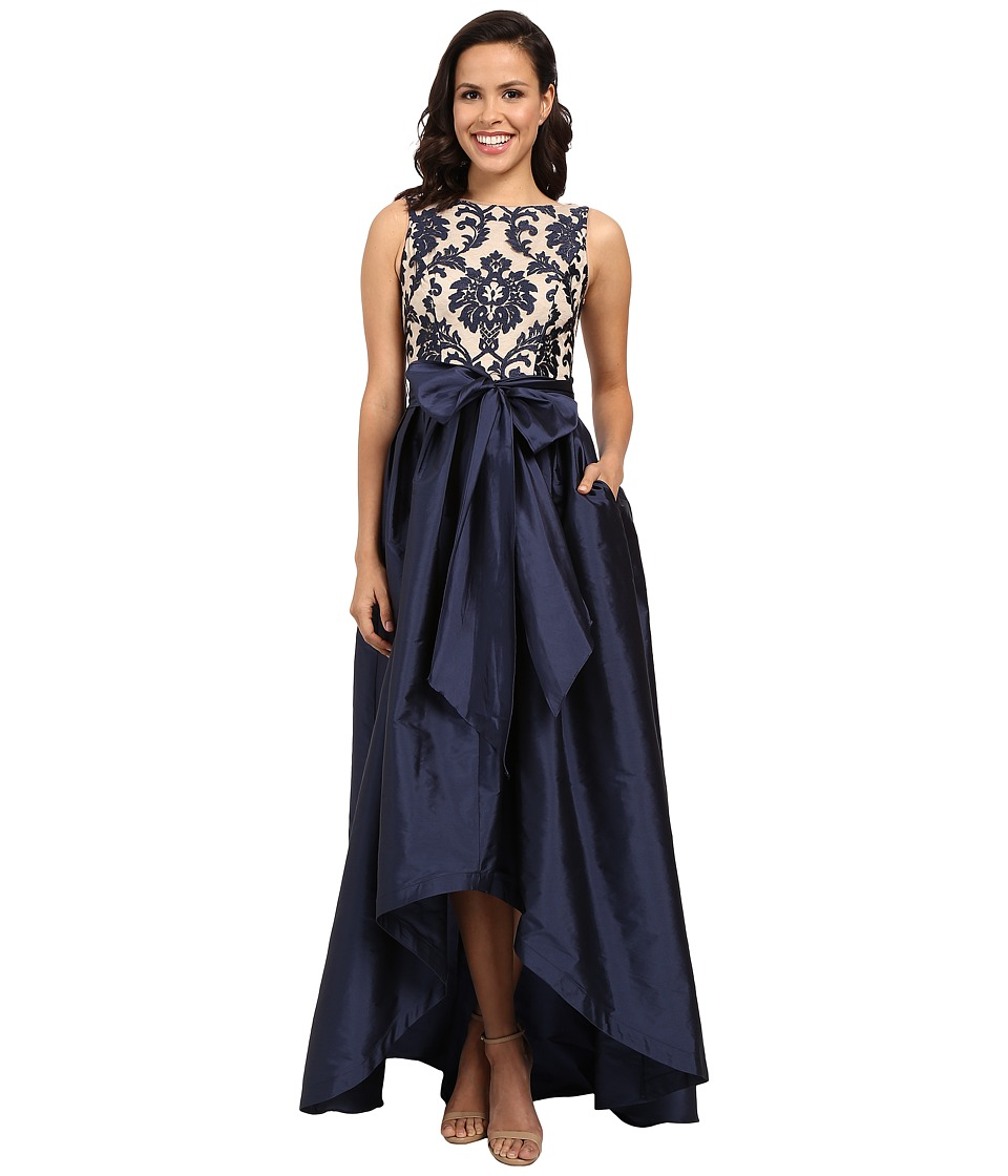 Adrianna Papell - Embroidered Lace Taffeta Ball Gown (Navy/Nude) Women's Dress