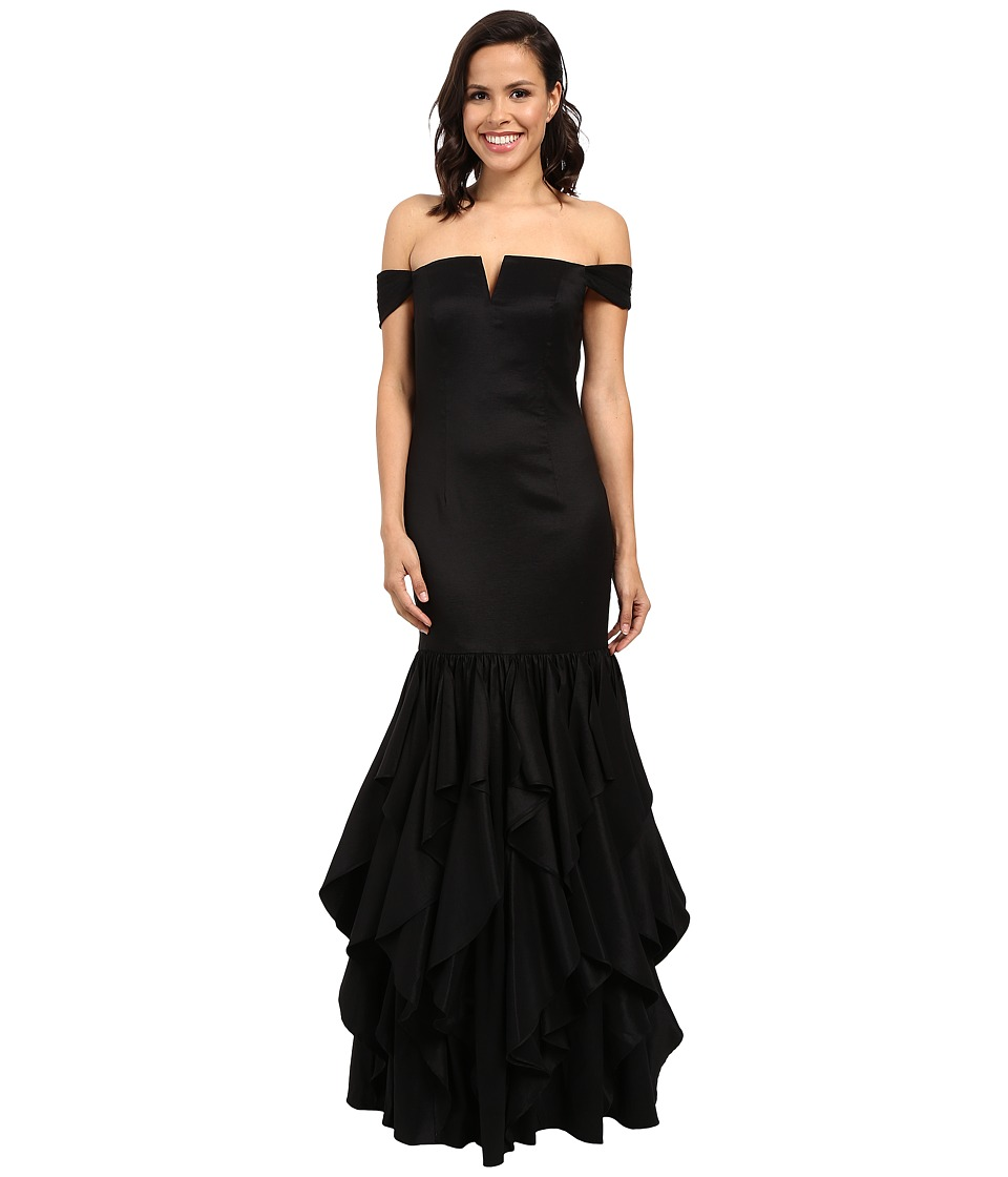 Adrianna Papell - Off Shoulder Mermaid Ruffle Gown (Black) Women's Dress
