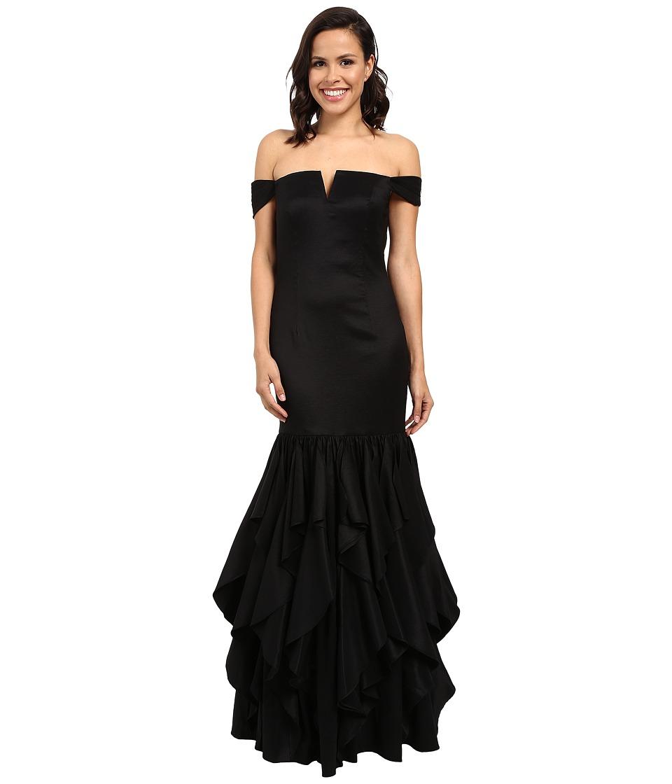 Adrianna Papell - Off Shoulder Mermaid Ruffle Gown (Black) Women's Dress