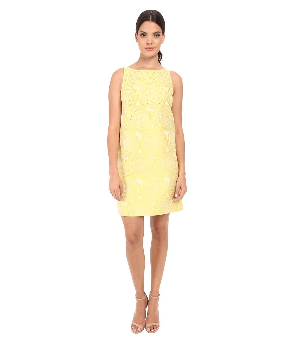 Adrianna Papell - A-Line Beaded Jacquard (Yellow) Women's Dress