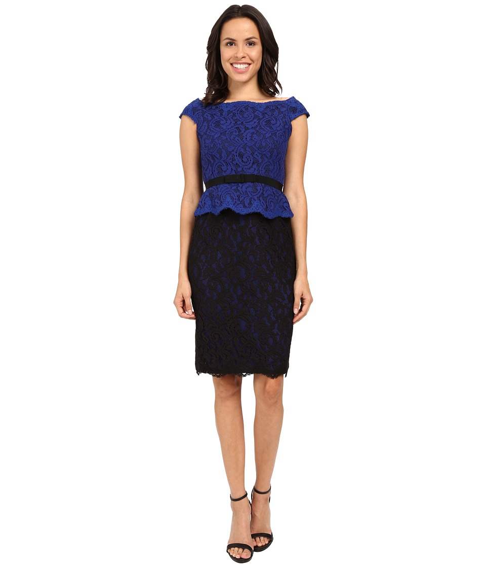 Adrianna Papell Bi-Color Lace Wrap Peplum Dress (Cobalt/Black) Women's Dress