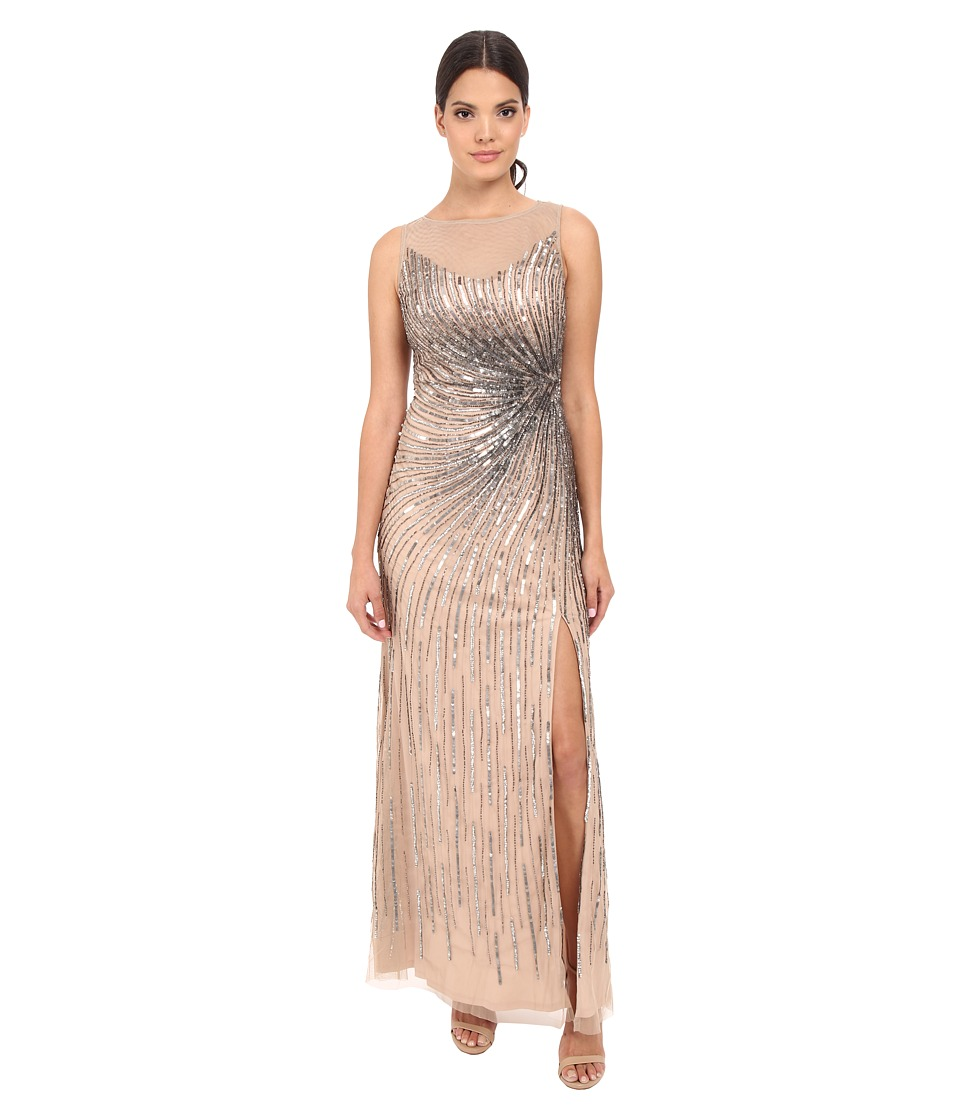 Adrianna Papell Sleeveless Beaded Mermaid Slit Gown Taupe-Pink Dress
