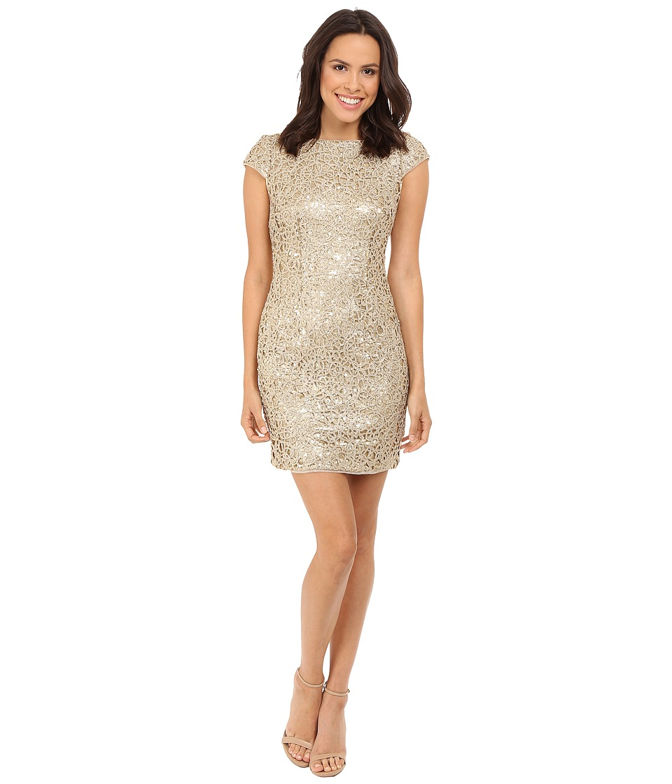 Adrianna Papell - Sequin Chem Lace Shift Dress (Gold) Women's Dress