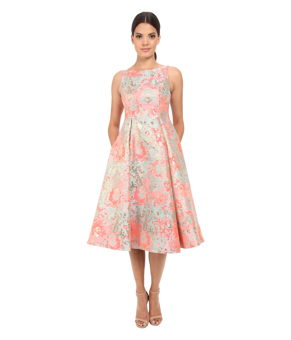 Adrianna Papell - Midi Sleeveless Jacquard Party Dress (Pink Multi) Women's Dress