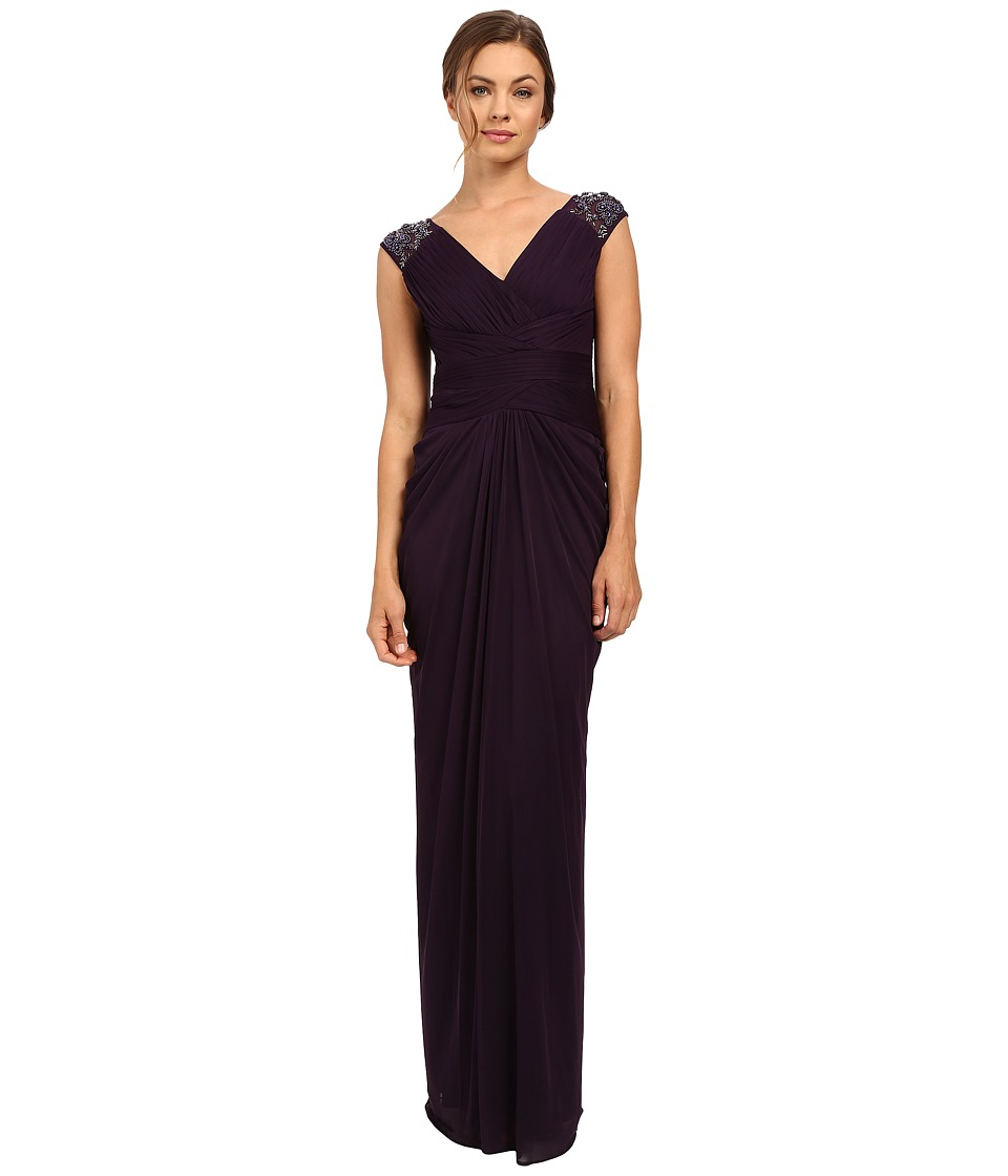 Adrianna Papell - Shirred Stretch Tulle Gown (Aubergine) Women's Dress