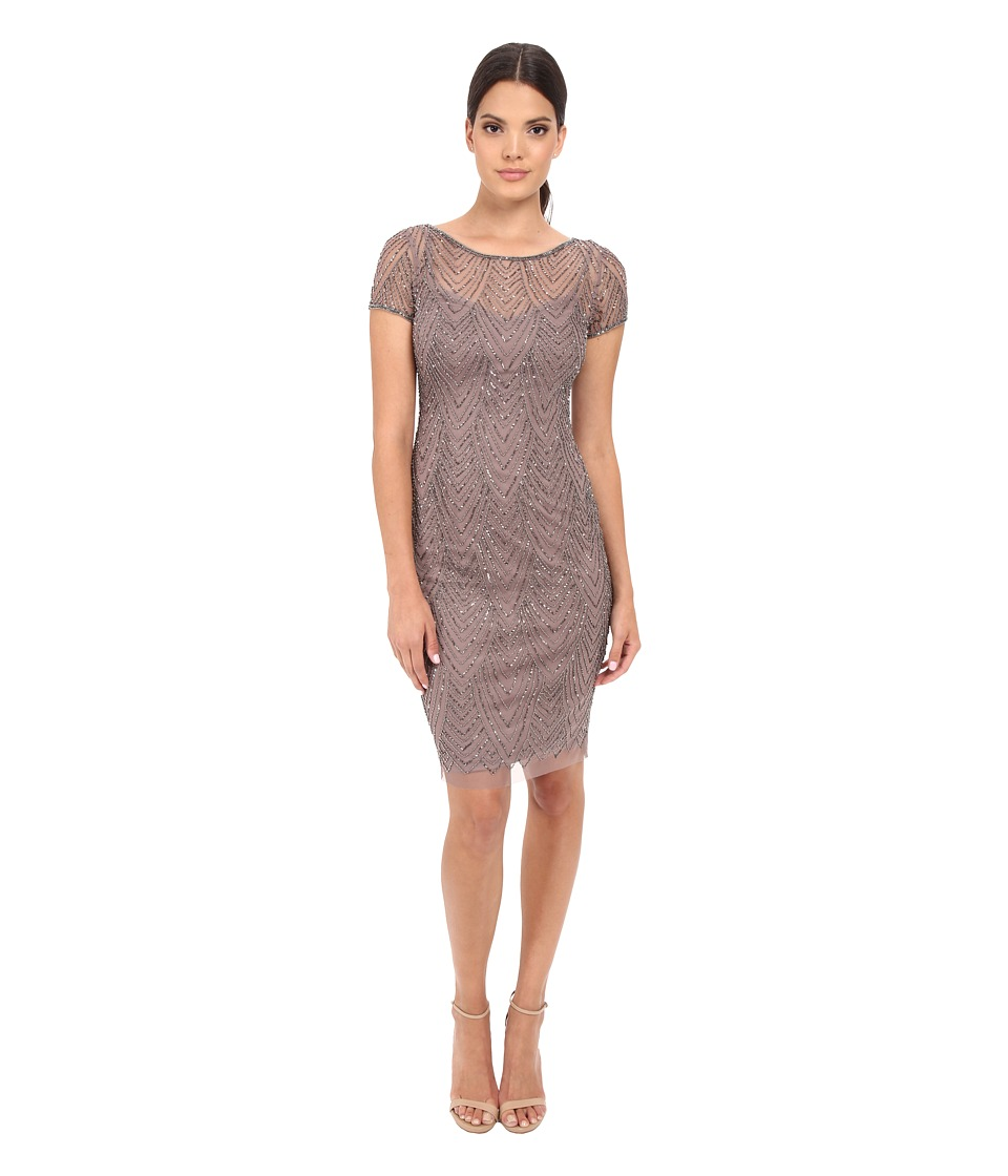 Adrianna Papell - Short Sleeve Beaded Cocktail Dress (Stone) Women's Dress