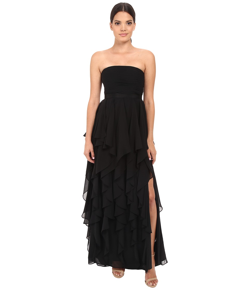 Adrianna Papell - Strapless Chiffon Ruffle Gown (Black) Women's Dress