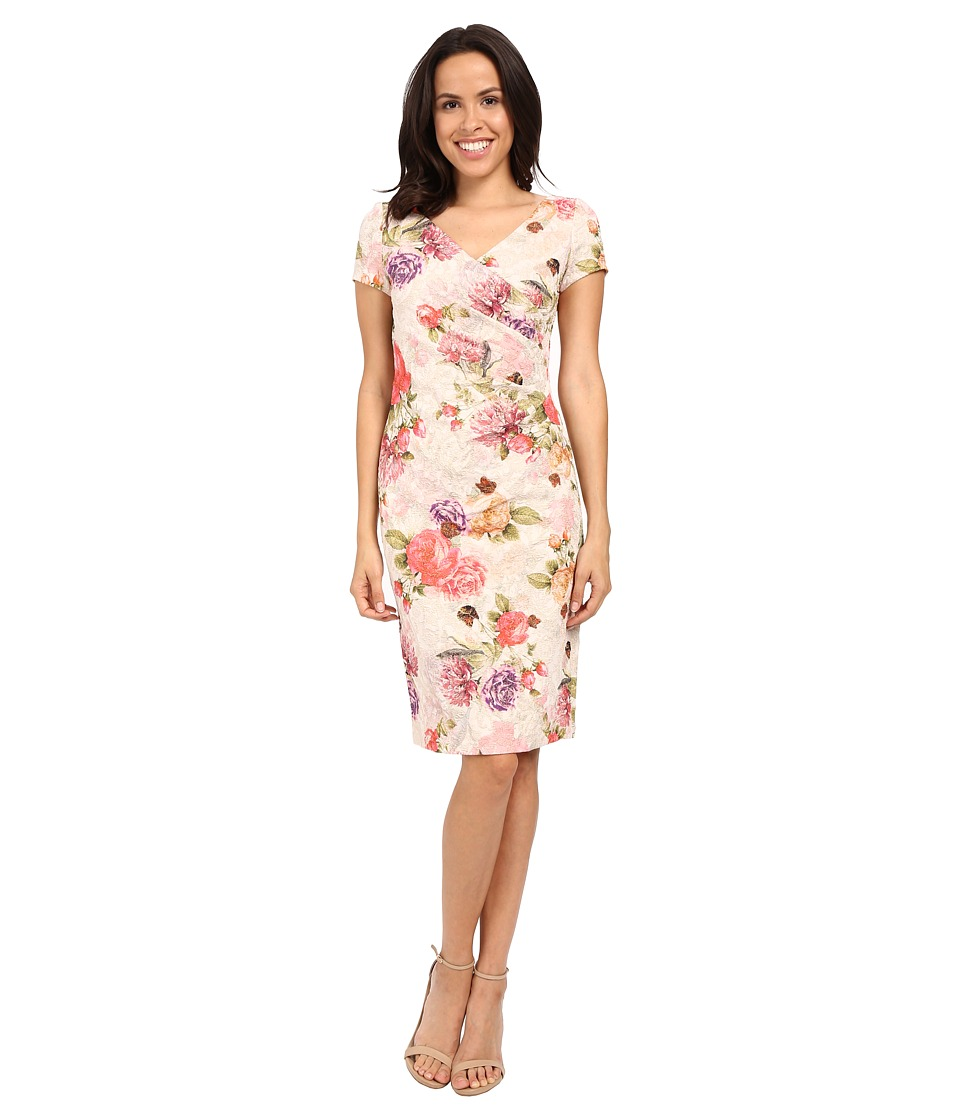 Adrianna Papell - Mattelasse Pleat Wrap Dress (Pink Multi) Women's Dress