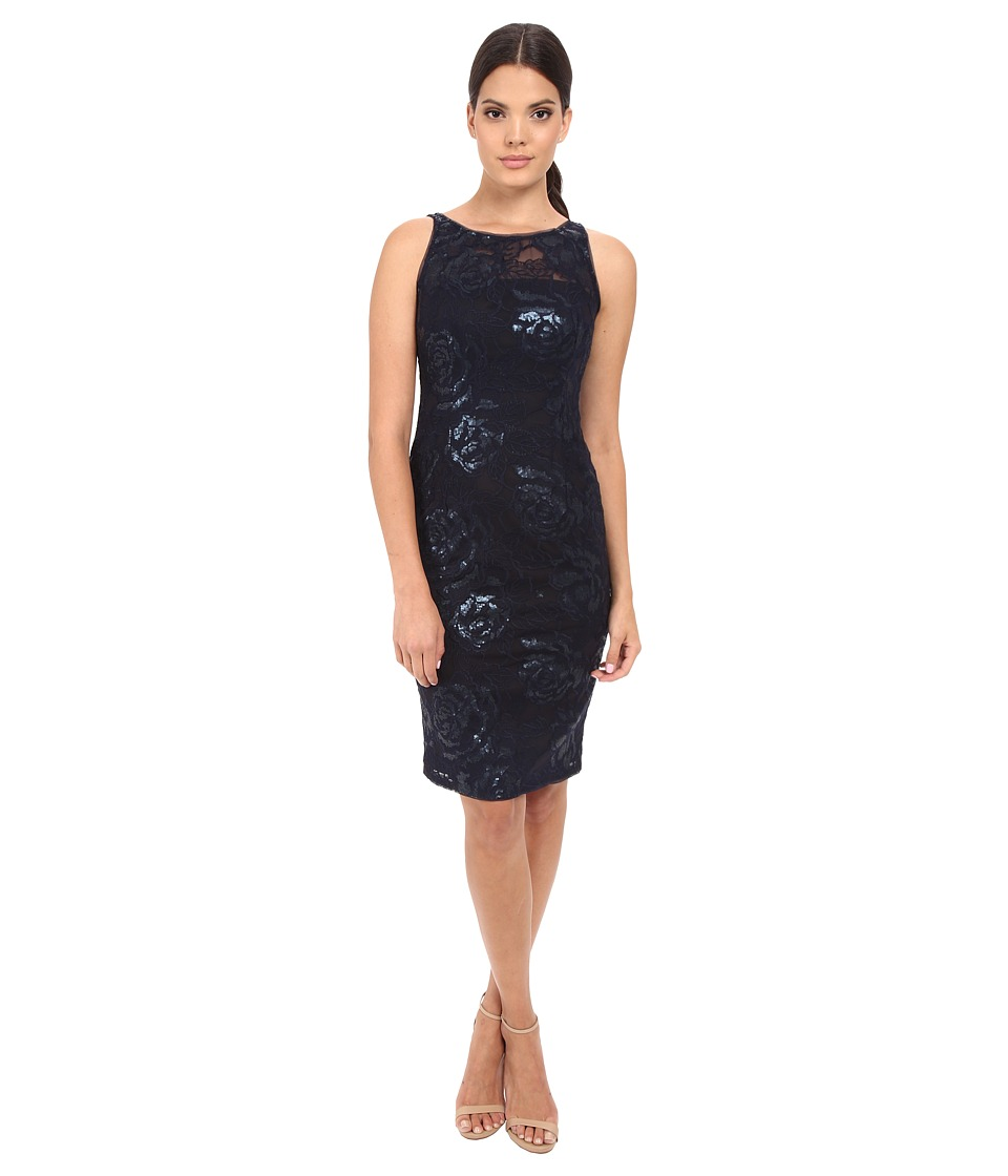 Adrianna Papell - Sequin Embroidered Floral Sheath (Navy) Women's Dress