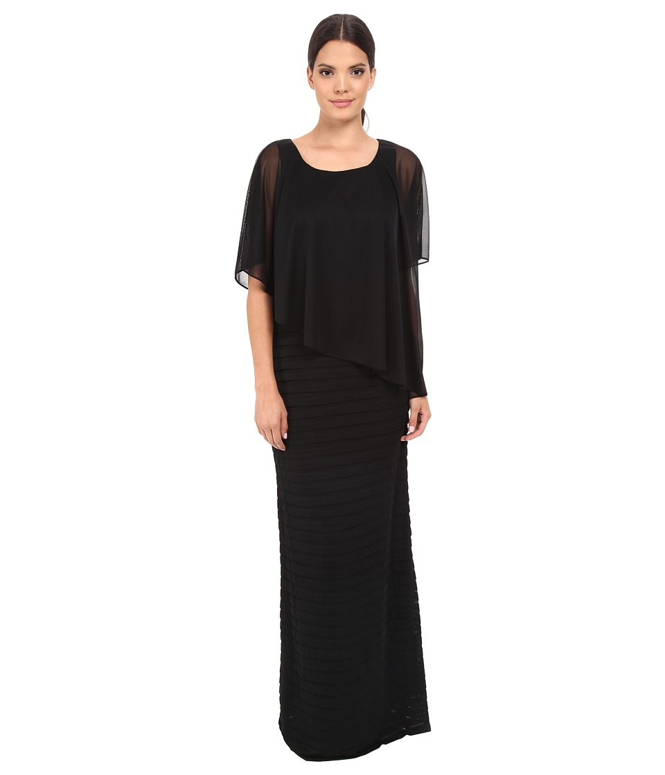 Adrianna Papell - Asymmetrical Caplet Tucked Gown (Black) Women's Dress